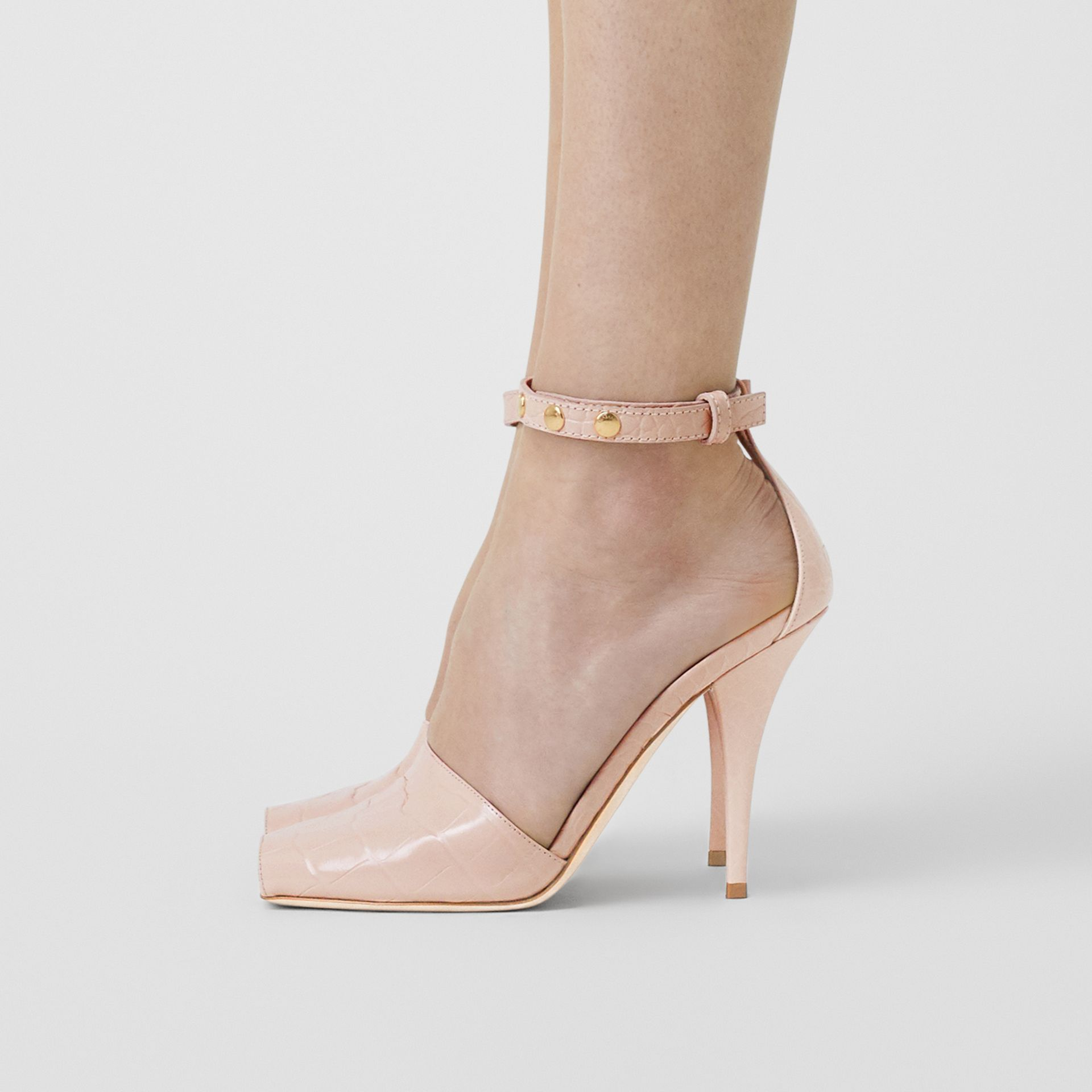 Triple Stud Embossed Leather Peep-toe Sandals in Rose Beige - Women | Burberry - gallery image 2
