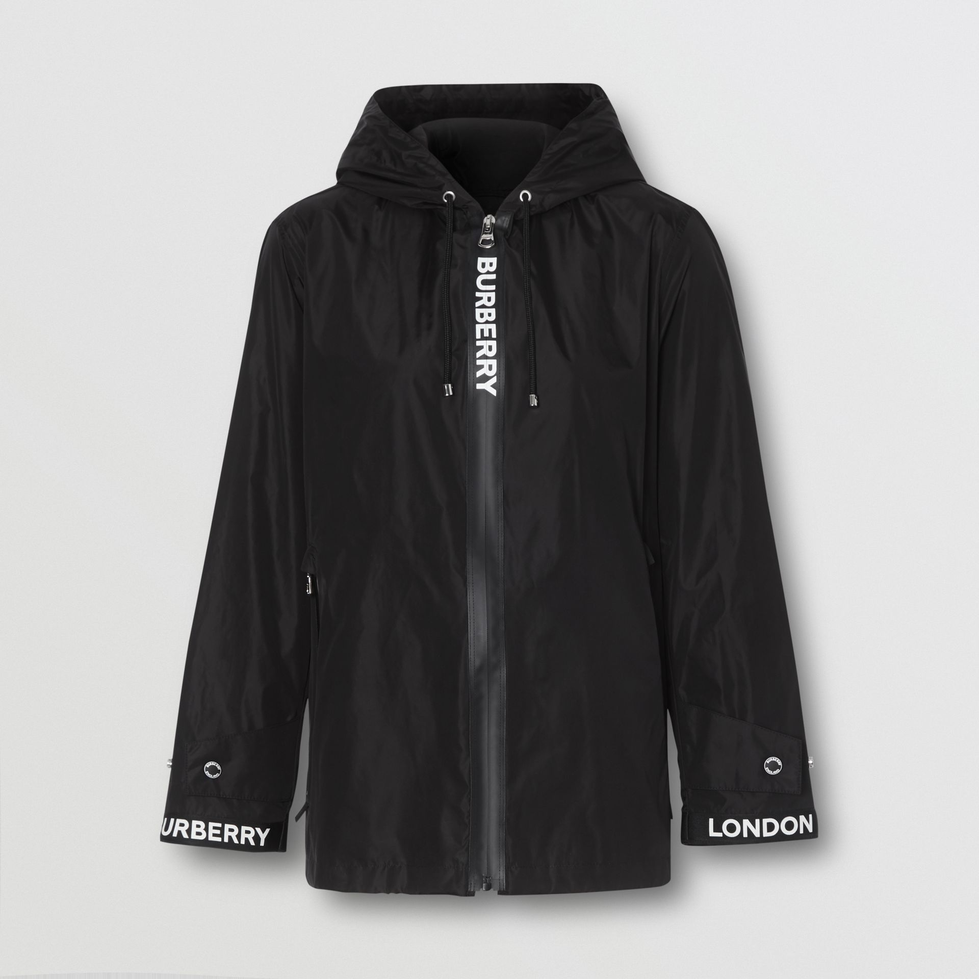 Logo Tape ECONYL® Hooded Jacket in Black - Women | Burberry United States - gallery image 2