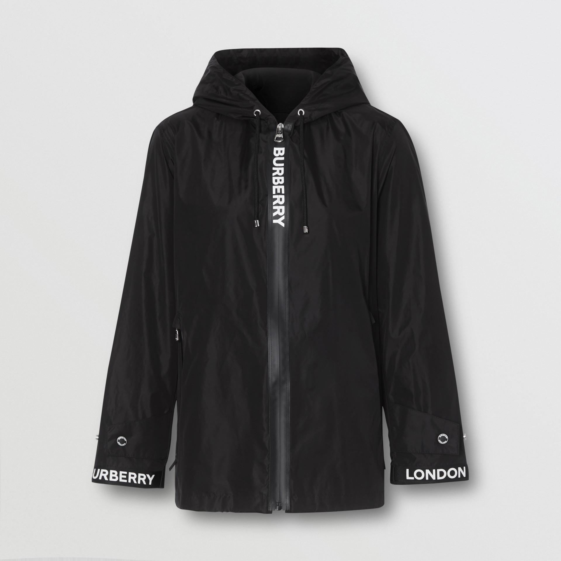 Logo Tape ECONYL® Hooded Jacket in Black - Women | Burberry - gallery image 3