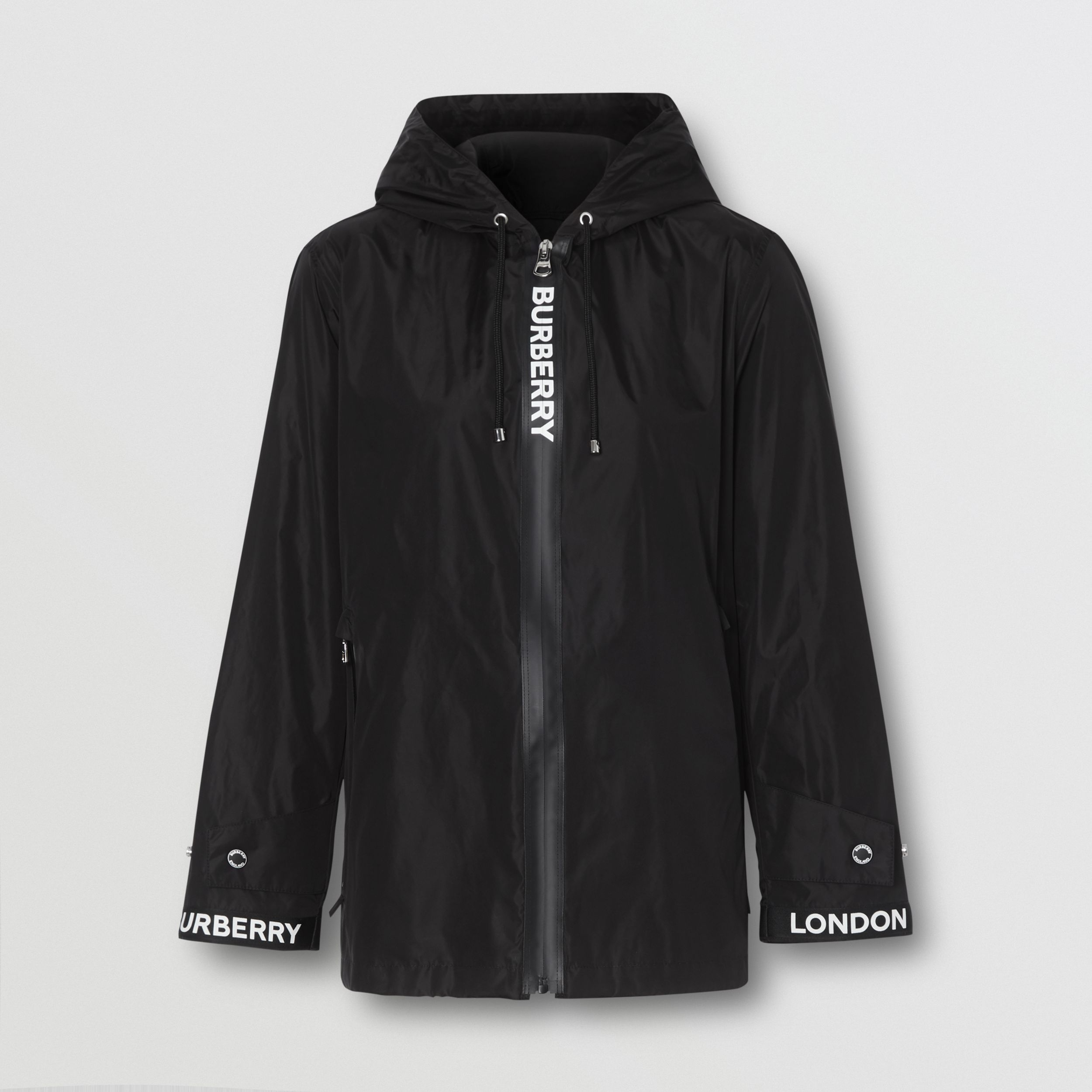 Logo Tape ECONYL® Hooded Jacket in Black - Women | Burberry United Kingdom - 4