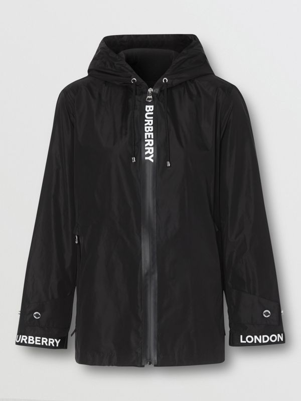 Logo Tape ECONYL® Hooded Jacket in Black - Women | Burberry - cell image 3