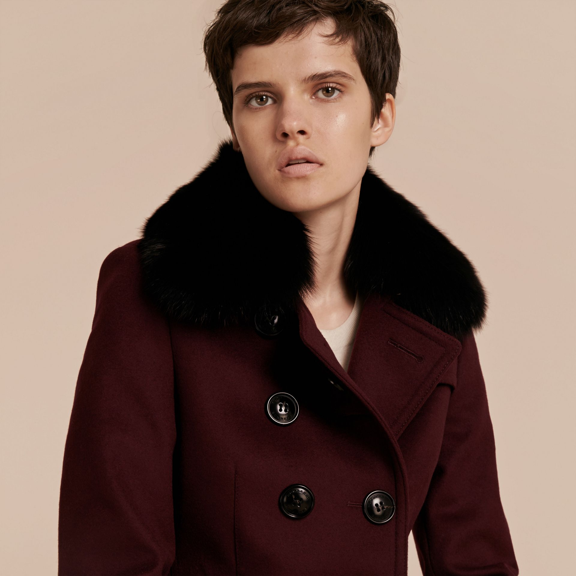 Deep claret Double-breasted Wool Cashmere Fur Collar Coat - gallery image 6