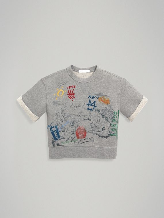 Short-sleeve Adventure Motif Cotton Jersey Sweatshirt in Grey Melange