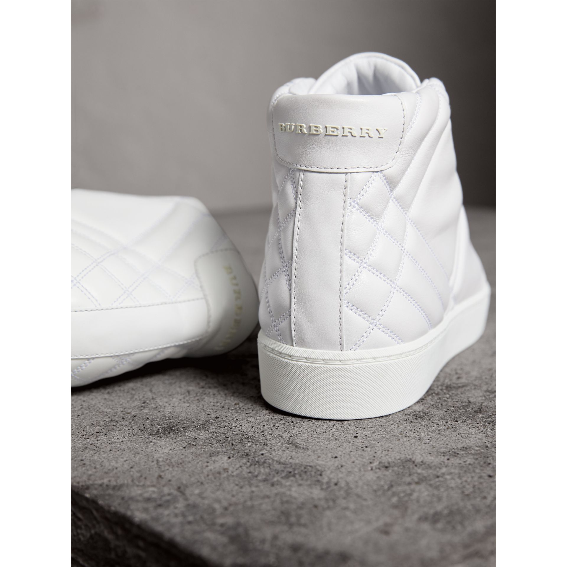 Check-quilted Leather High-top Trainers in Optic White - Women | Burberry Canada - gallery image 4