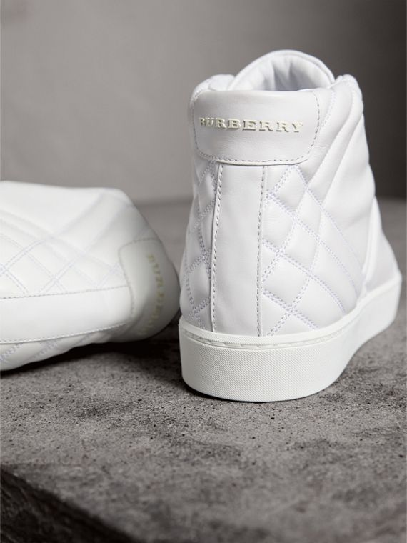 Check-quilted Leather High-top Trainers in Optic White - Women | Burberry - cell image 3