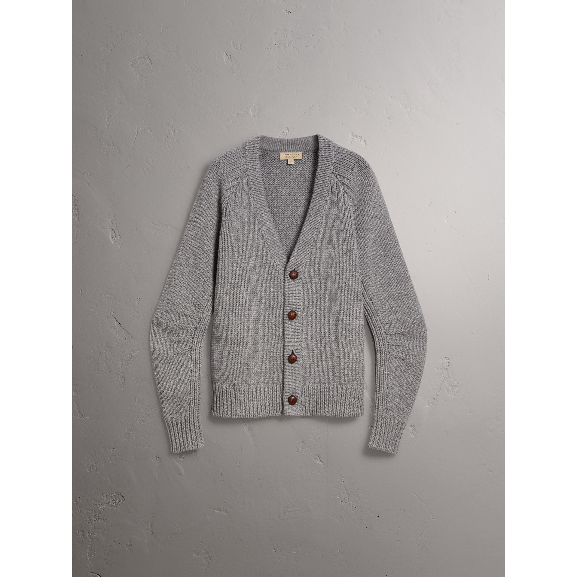 Chunky Knit Wool Cashmere Cardigan in Mid Grey Melange - Men | Burberry - gallery image 3