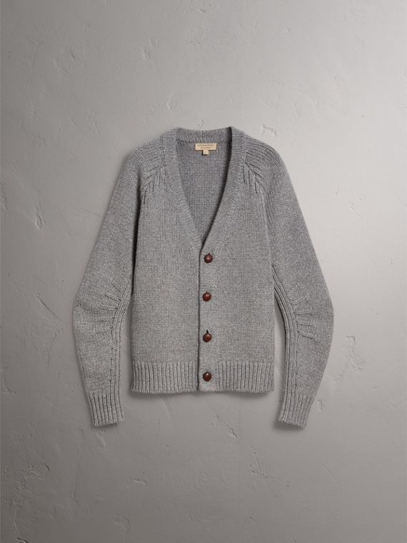 Chunky Knit Wool Cashmere Cardigan in Mid Grey Melange - Men | Burberry - cell image 3