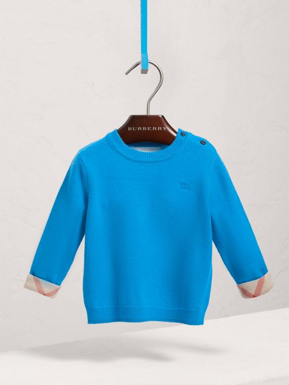 Check Cuff Cashmere Sweater in Cyan Blue