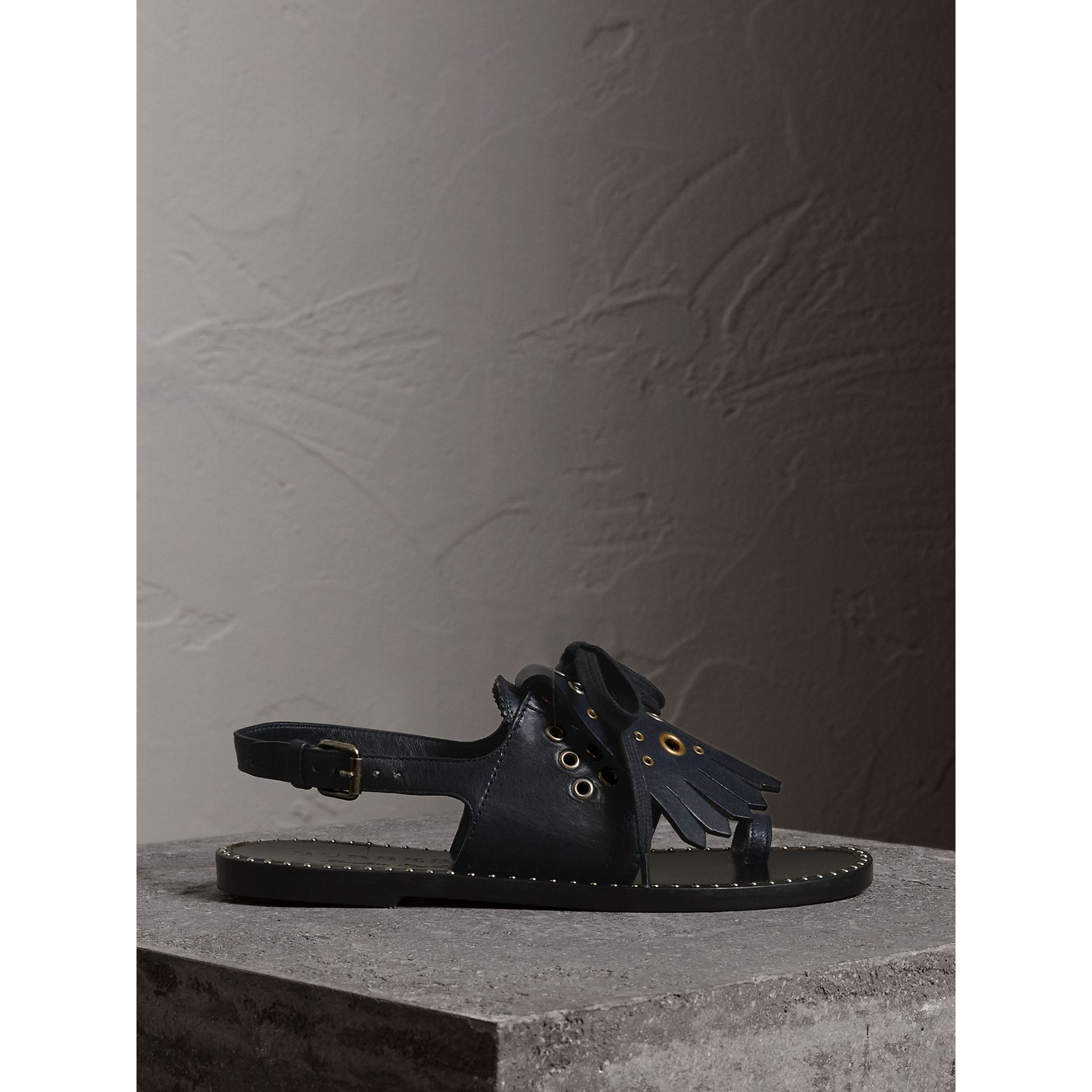 Kiltie Fringe Leather Sandals in Navy - Women | Burberry - gallery image 5