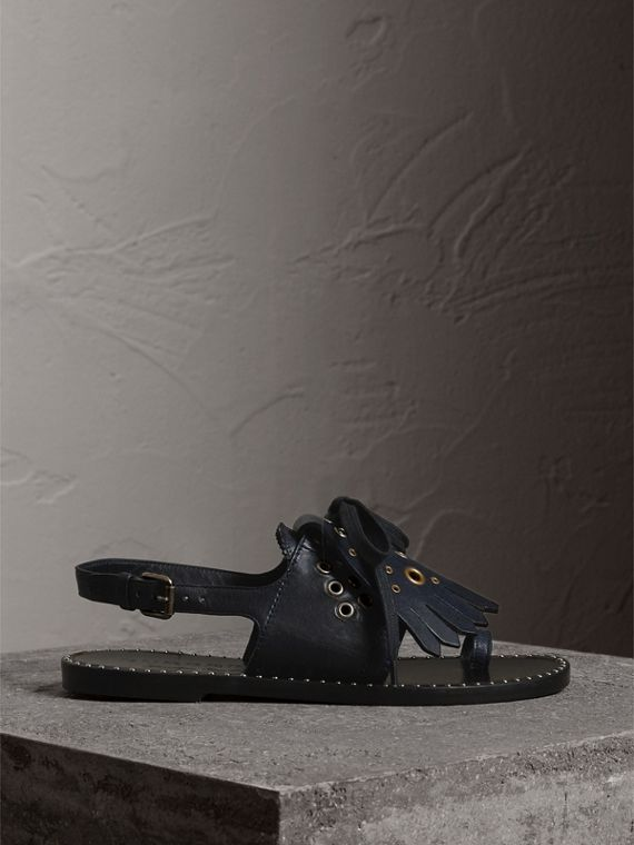 Kiltie Fringe Leather Sandals in Navy - Women | Burberry - cell image 3
