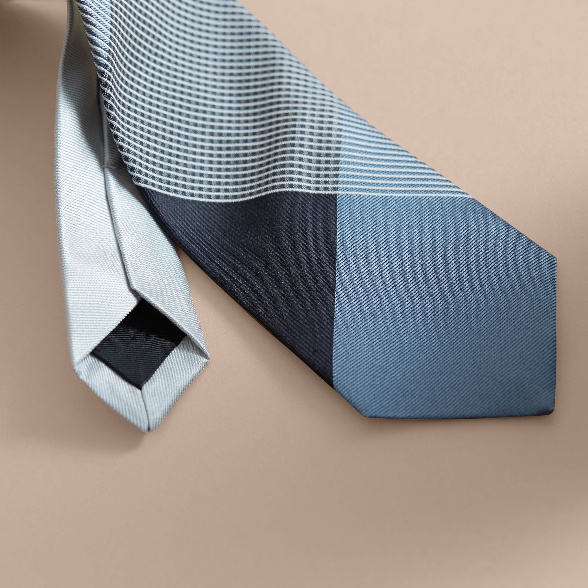 Modern Cut Gingham Check Silk Jacquard Tie in Slate Blue - Men | Burberry - gallery image 2