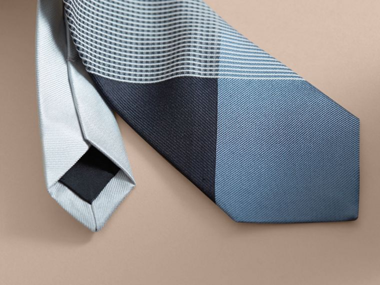 Modern Cut Gingham Check Silk Jacquard Tie in Slate Blue - Men | Burberry - cell image 1
