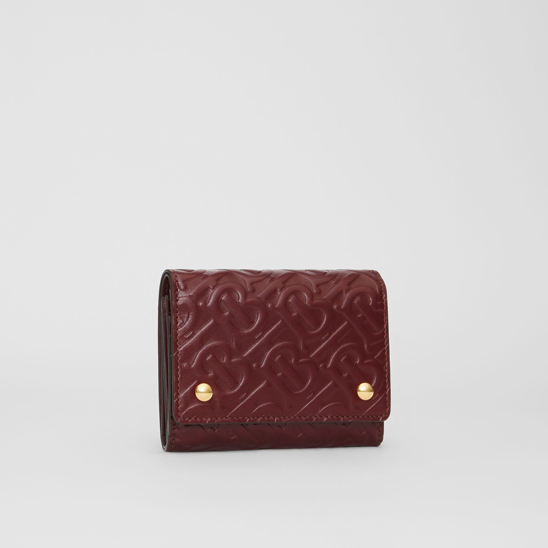 Small Monogram Leather Folding Wallet in Oxblood - Women | Burberry - gallery image 3