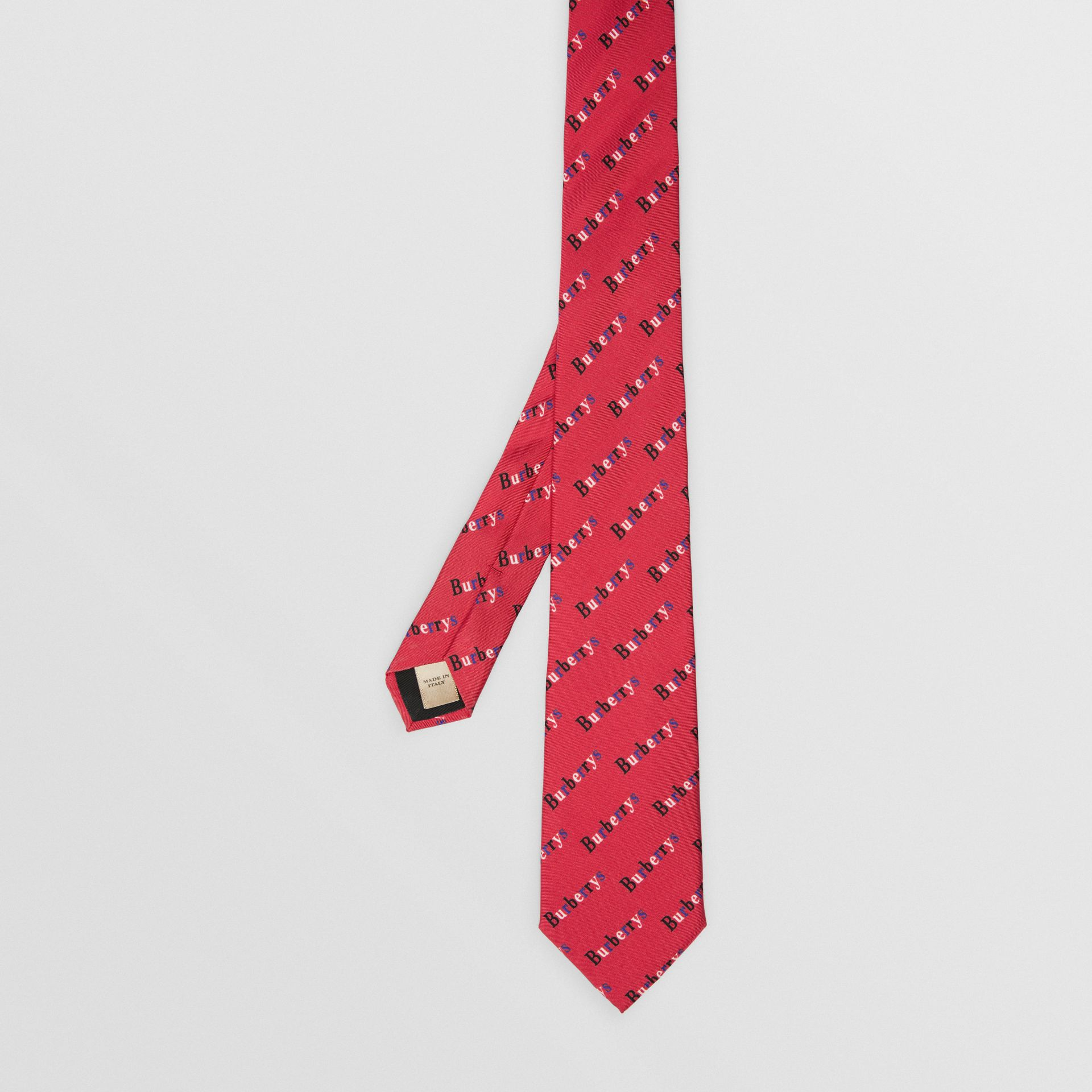 Slim Cut Archive Logo Print Silk Tie in Parade Red - Men | Burberry - gallery image 2