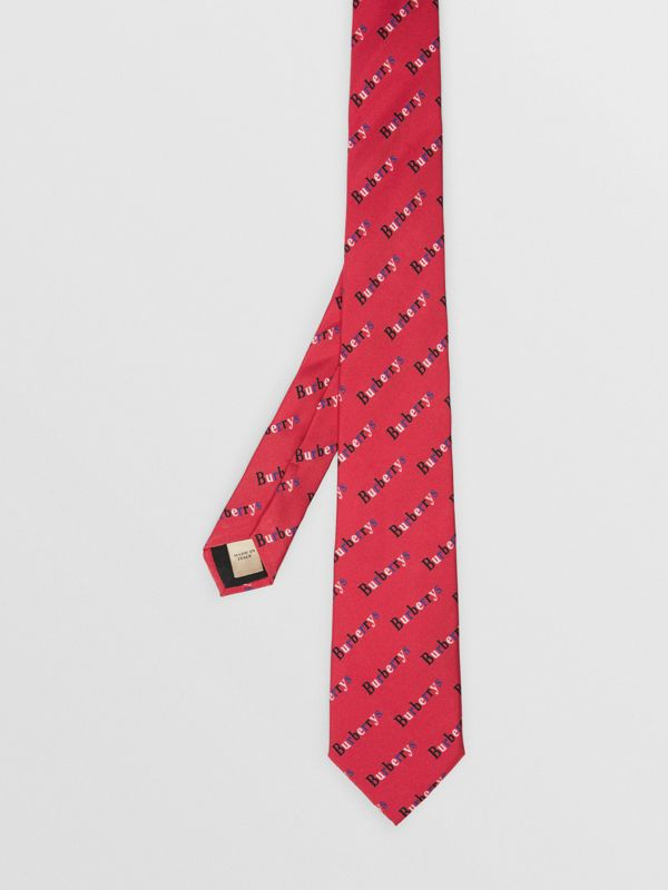 Slim Cut Archive Logo Print Silk Tie in Parade Red - Men | Burberry - cell image 2