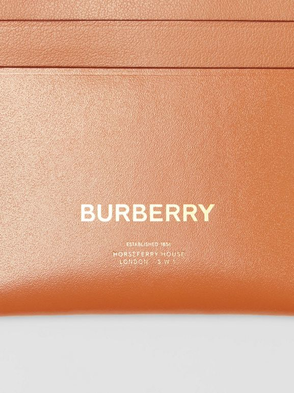 Horseferry Print Leather Card Case in Nutmeg - Women | Burberry - cell image 1