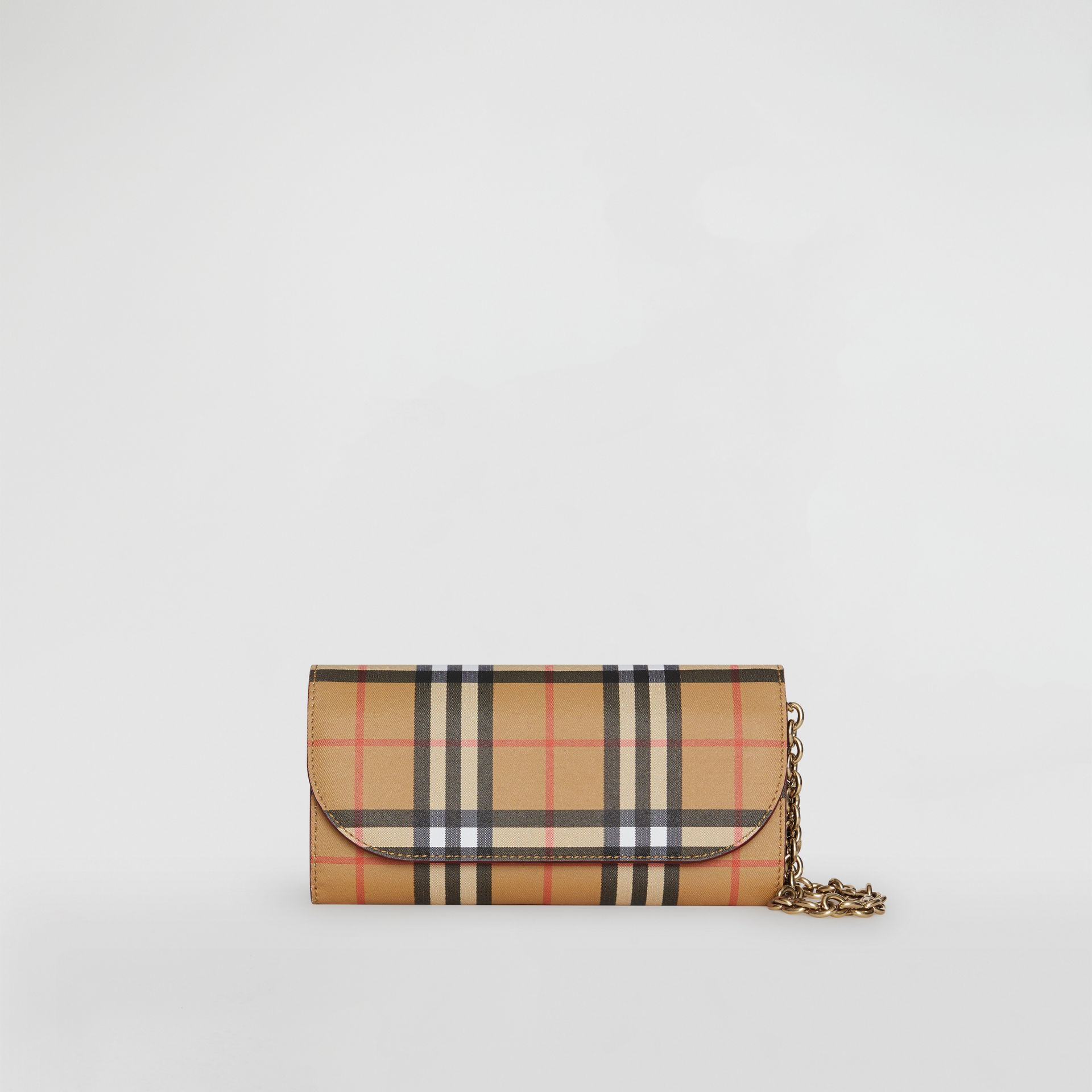 Vintage Check and Leather Wallet with Detachable Strap in Crimson - Women | Burberry Australia - gallery image 0