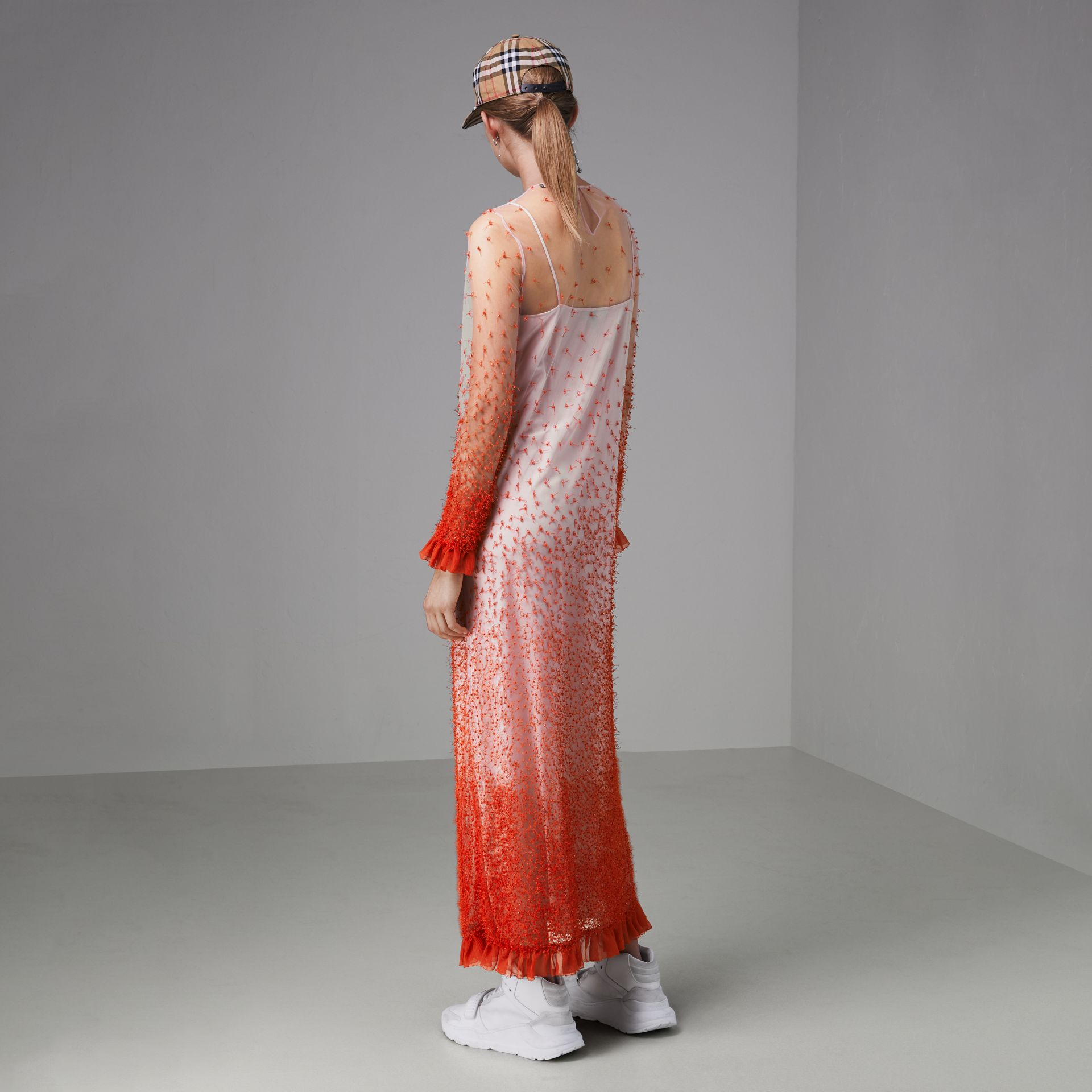 Dégradé Hand-beaded Crepon Dress in Coral - Women | Burberry Singapore - gallery image 2
