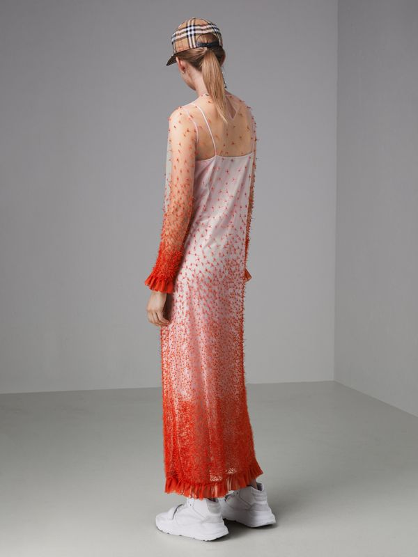 Dégradé Hand-beaded Crepon Dress in Coral - Women | Burberry Singapore - cell image 2