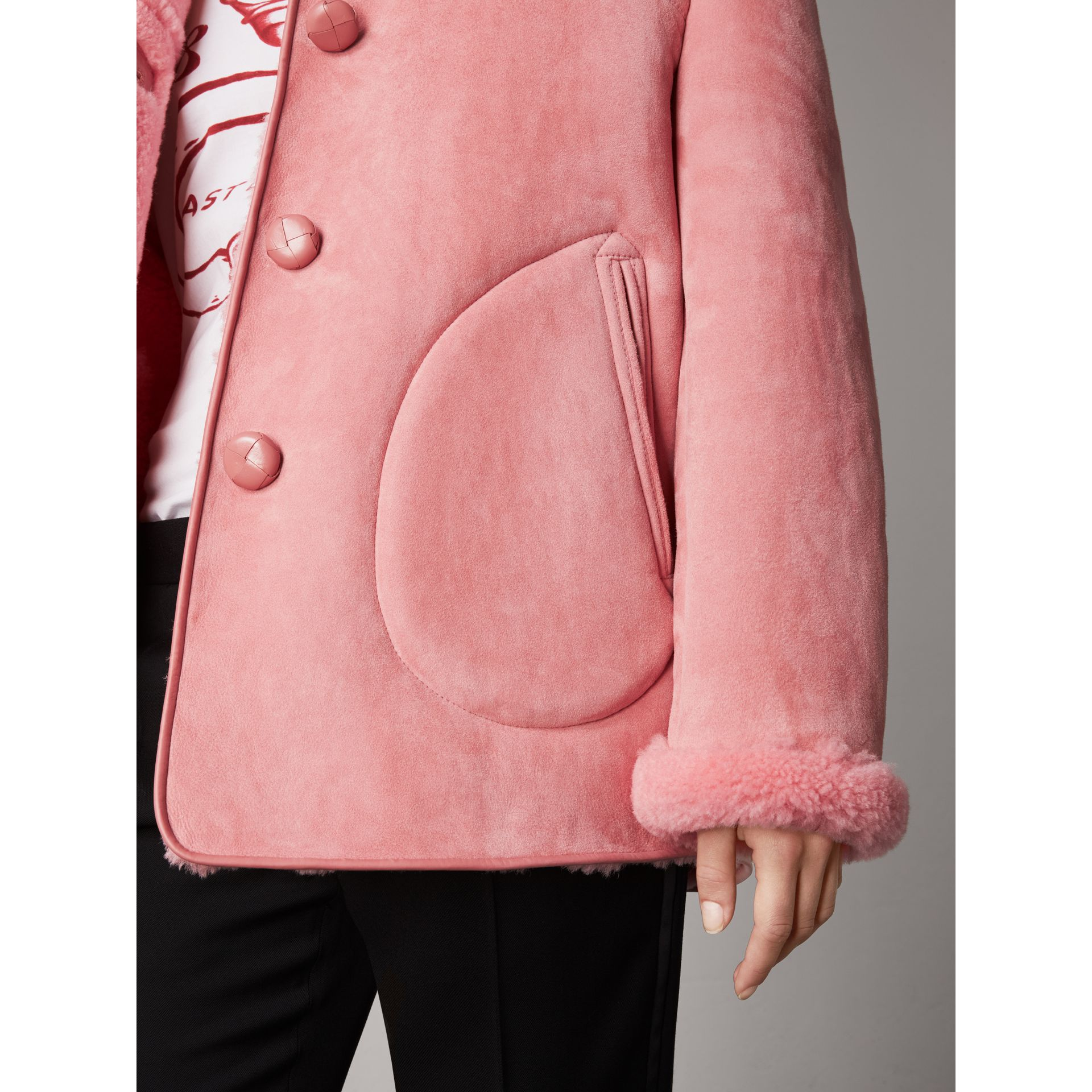Leather Trim Shearling Oversized Jacket in Copper Pink - Women | Burberry United Kingdom - gallery image 1