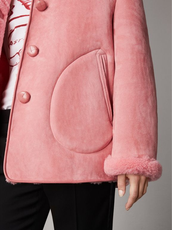 Leather Trim Shearling Oversized Jacket in Copper Pink - Women | Burberry - cell image 1