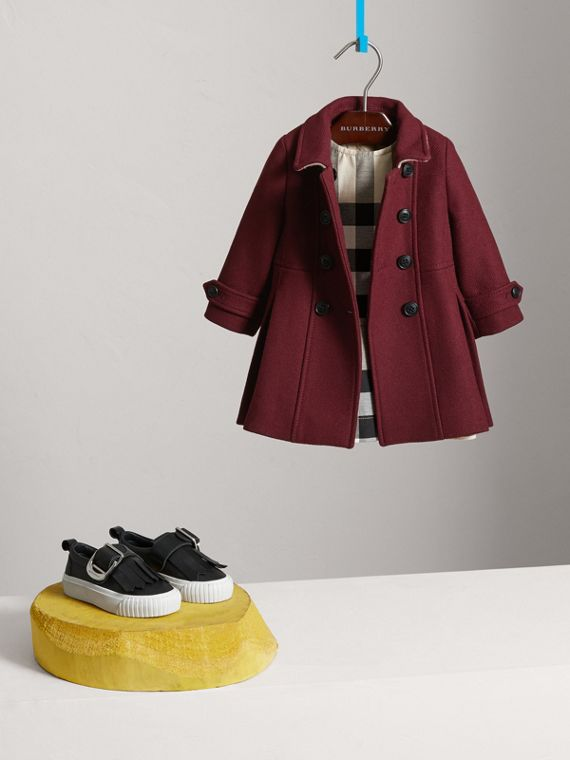 Wool Cashmere Blend Twill Tailored Coat in Garnet | Burberry - cell image 2