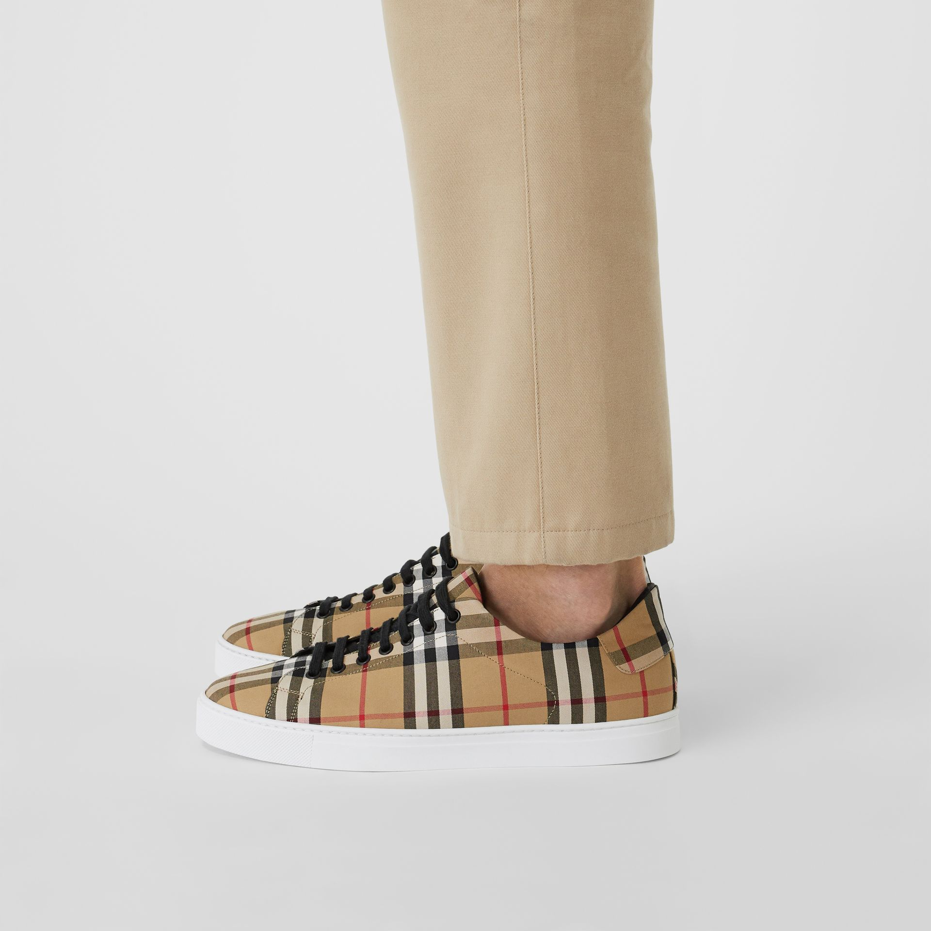 Vintage Check and Leather Sneakers in Antique Yellow - Men | Burberry Australia - gallery image 2