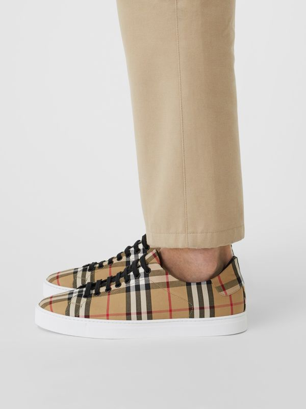 Vintage Check and Leather Sneakers in Antique Yellow - Men | Burberry Canada - cell image 2