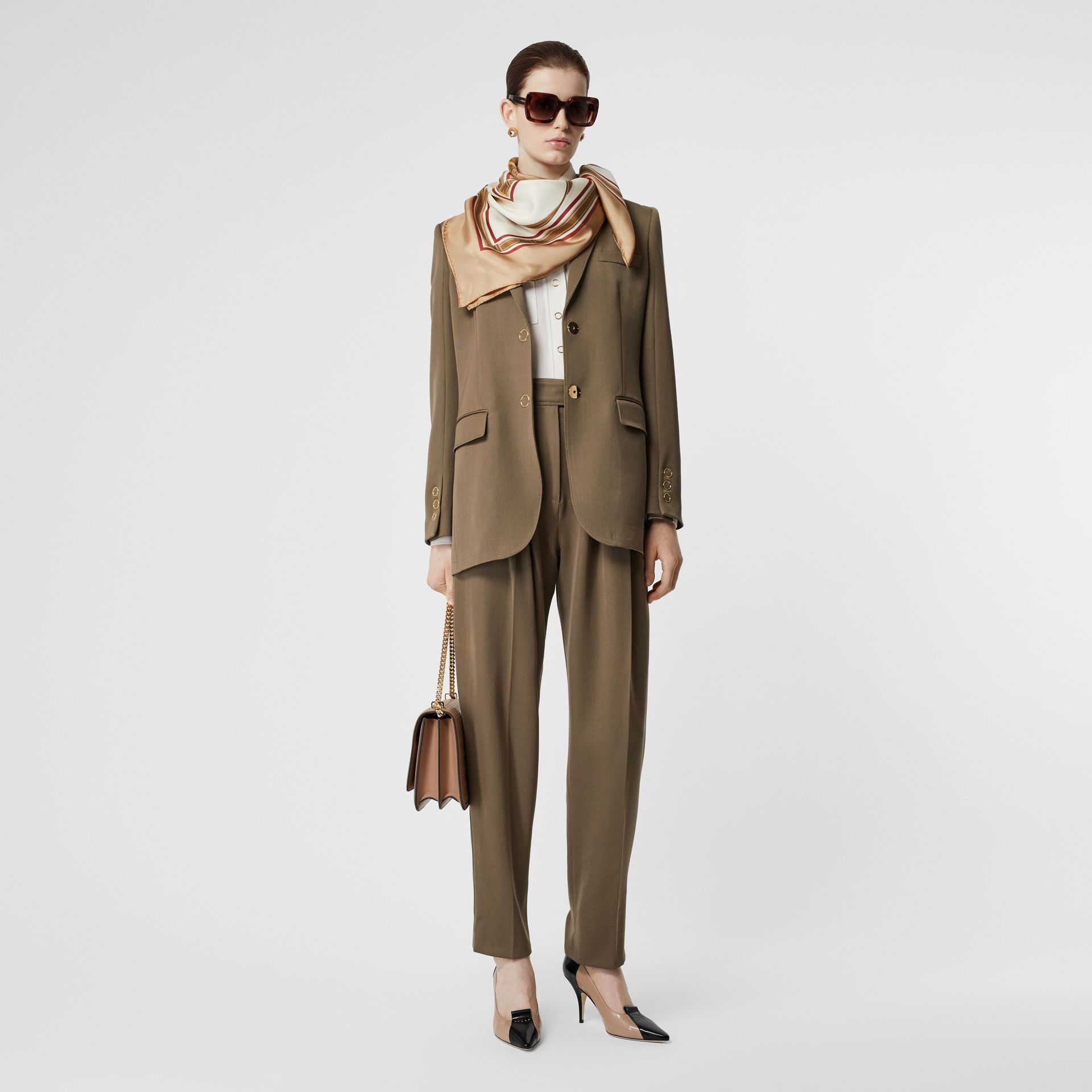 Archive Scarf Print Silk Square Scarf in Pale Camel | Burberry - gallery image 4