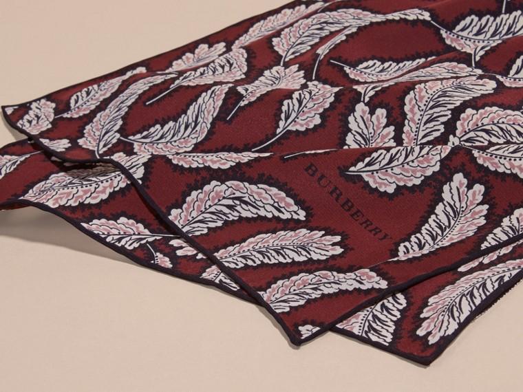 Garnet pink Leaf Print Silk Scarf Garnet Pink - cell image 1