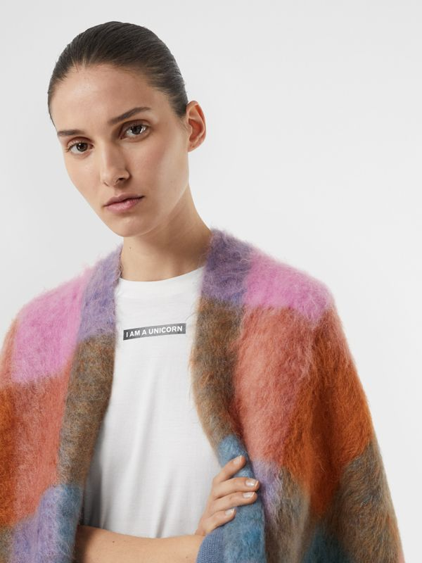 Patchwork Mohair Blend Cape in Apricot Pink - Women | Burberry - cell image 2