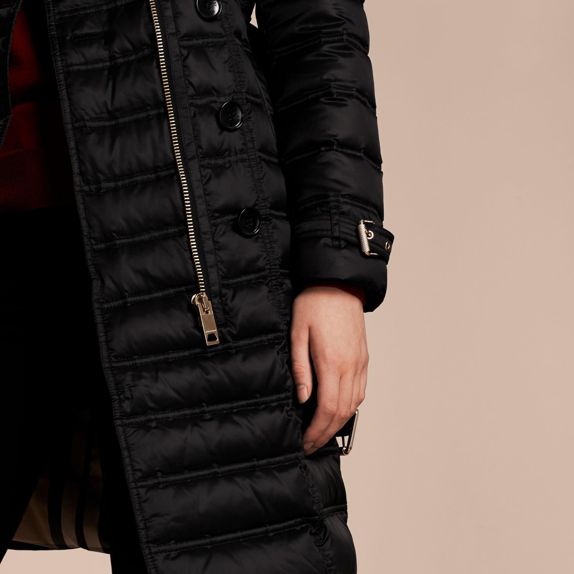 Black Down-Filled Puffer Coat with Fur Trim Black - gallery image 6
