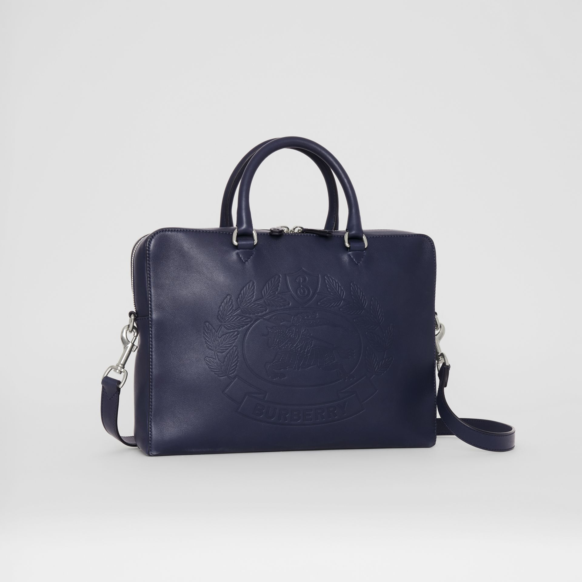 Embossed Crest Leather Briefcase in Regency Blue - Men | Burberry United States - gallery image 6