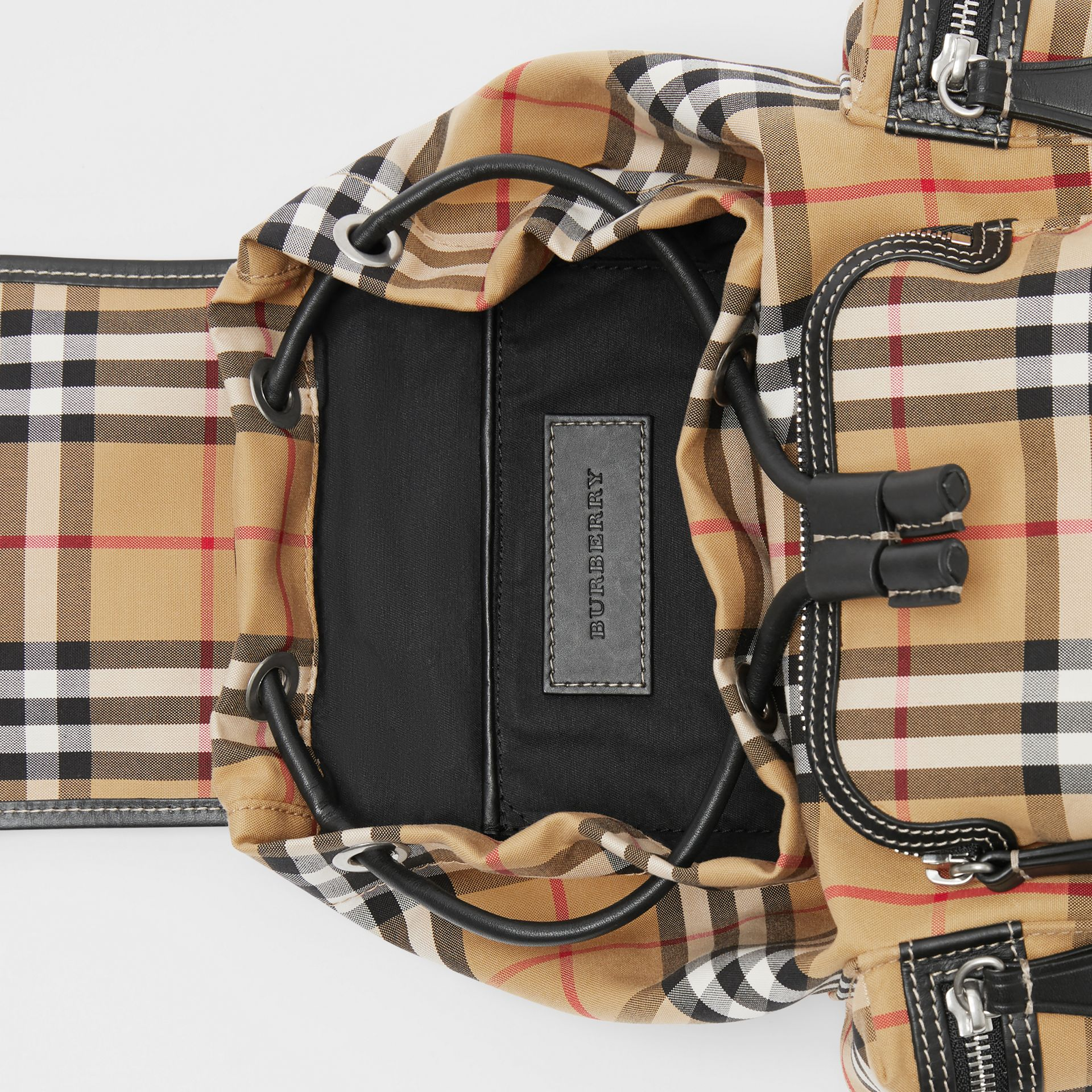 The Small Rucksack in Vintage Check and Leather in Antique Yellow - Women | Burberry - gallery image 5