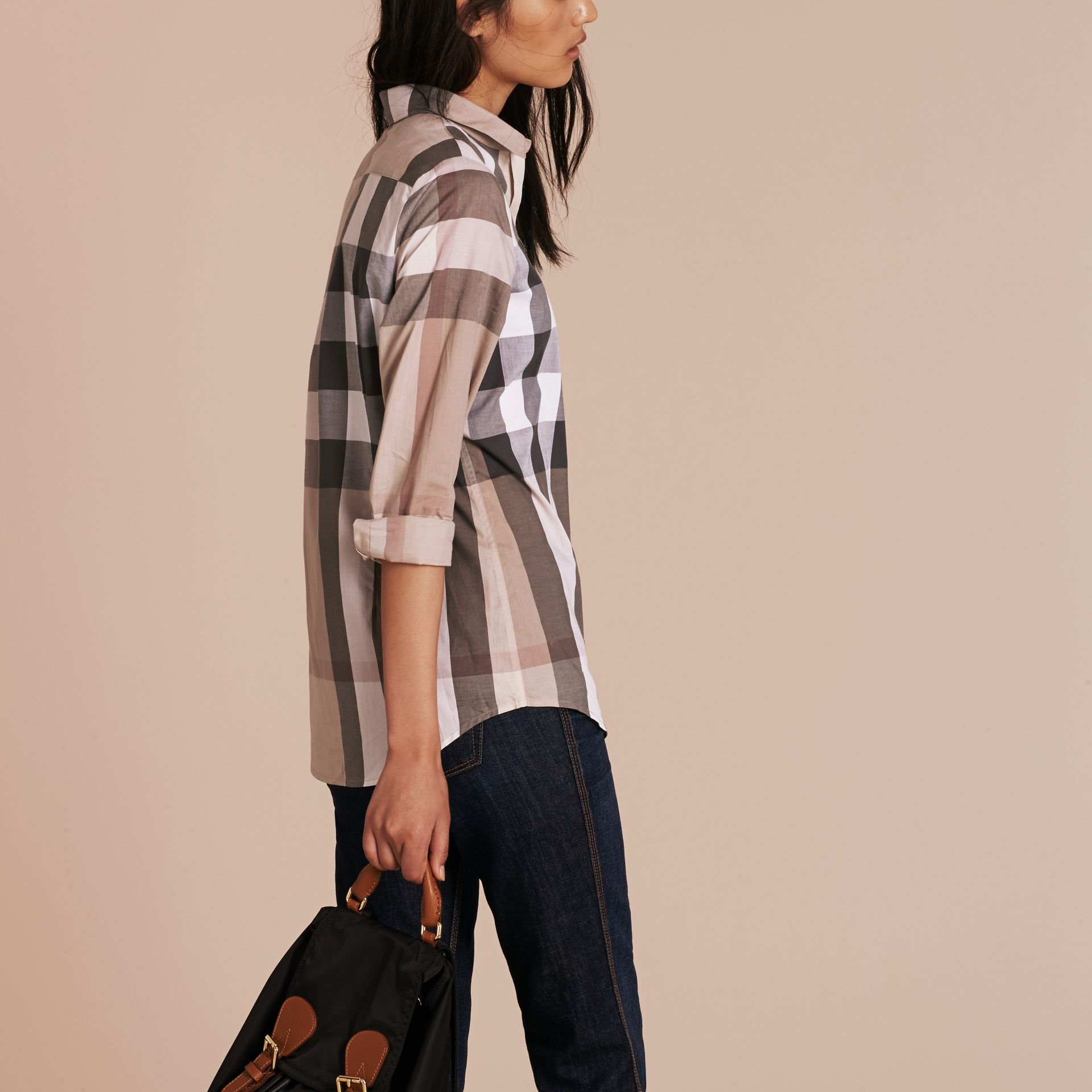 Check Cotton Shirt in Pale Stone - Women | Burberry - gallery image 3