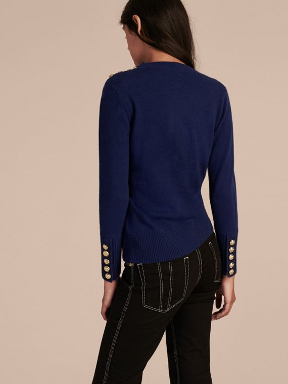 Cashmere Sweater with Crested Buttons in Bright Navy - cell image 2