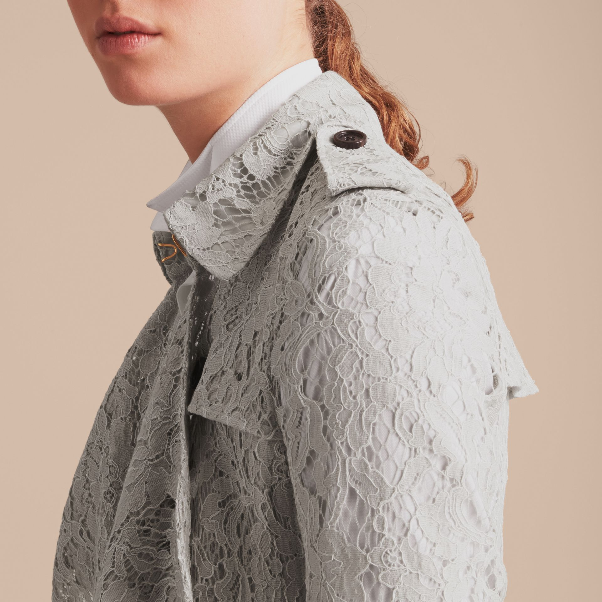 Macramé Lace Trench Coat Pale Grey - gallery image 6