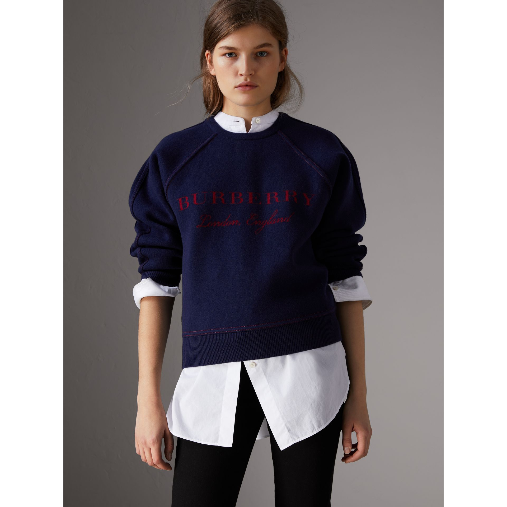 Topstitch Detail Wool Cashmere Blend Sweater in Navy - Women | Burberry - gallery image 0