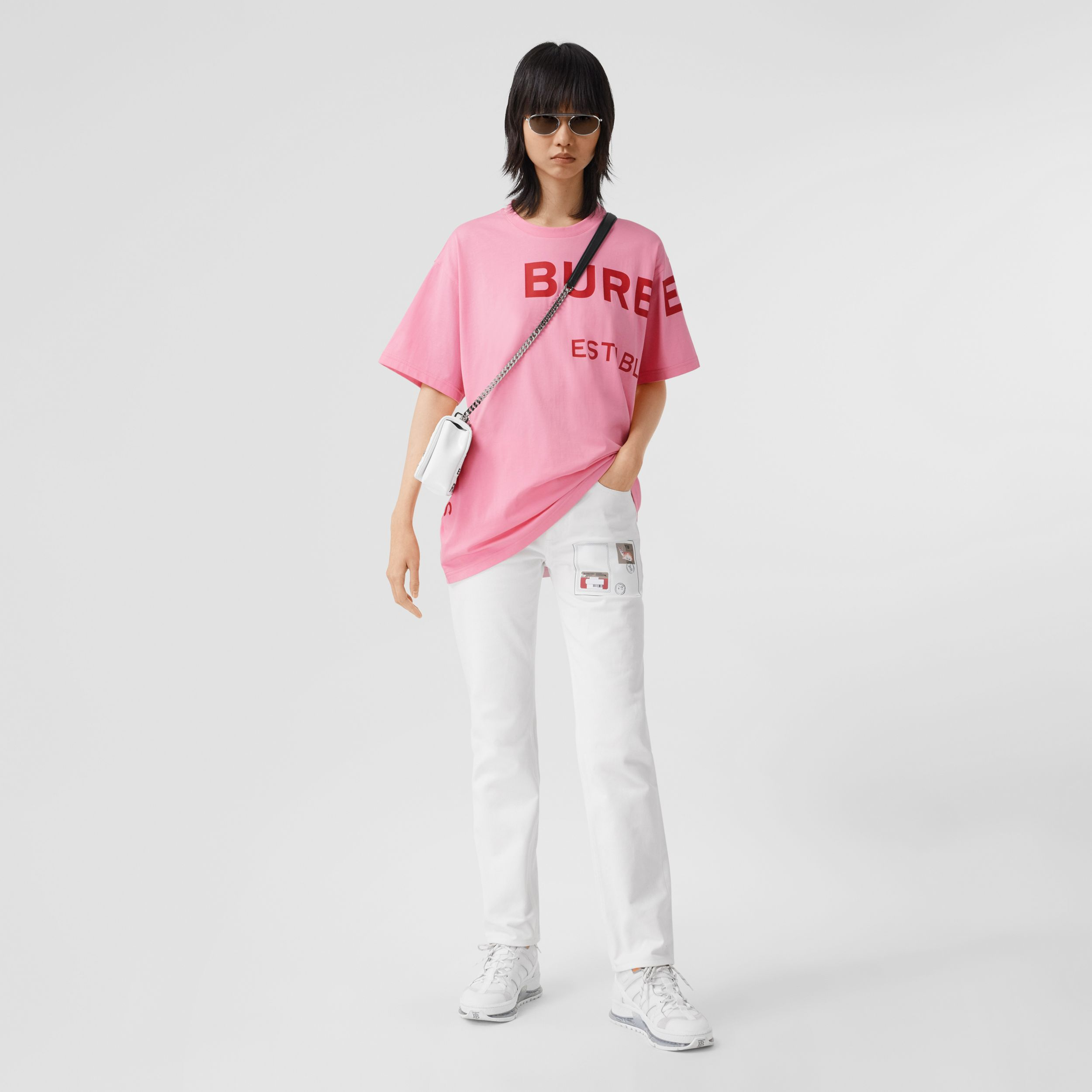 Horseferry Print Cotton Oversized T-shirt in Bubblegum Pink - Women | Burberry - 1