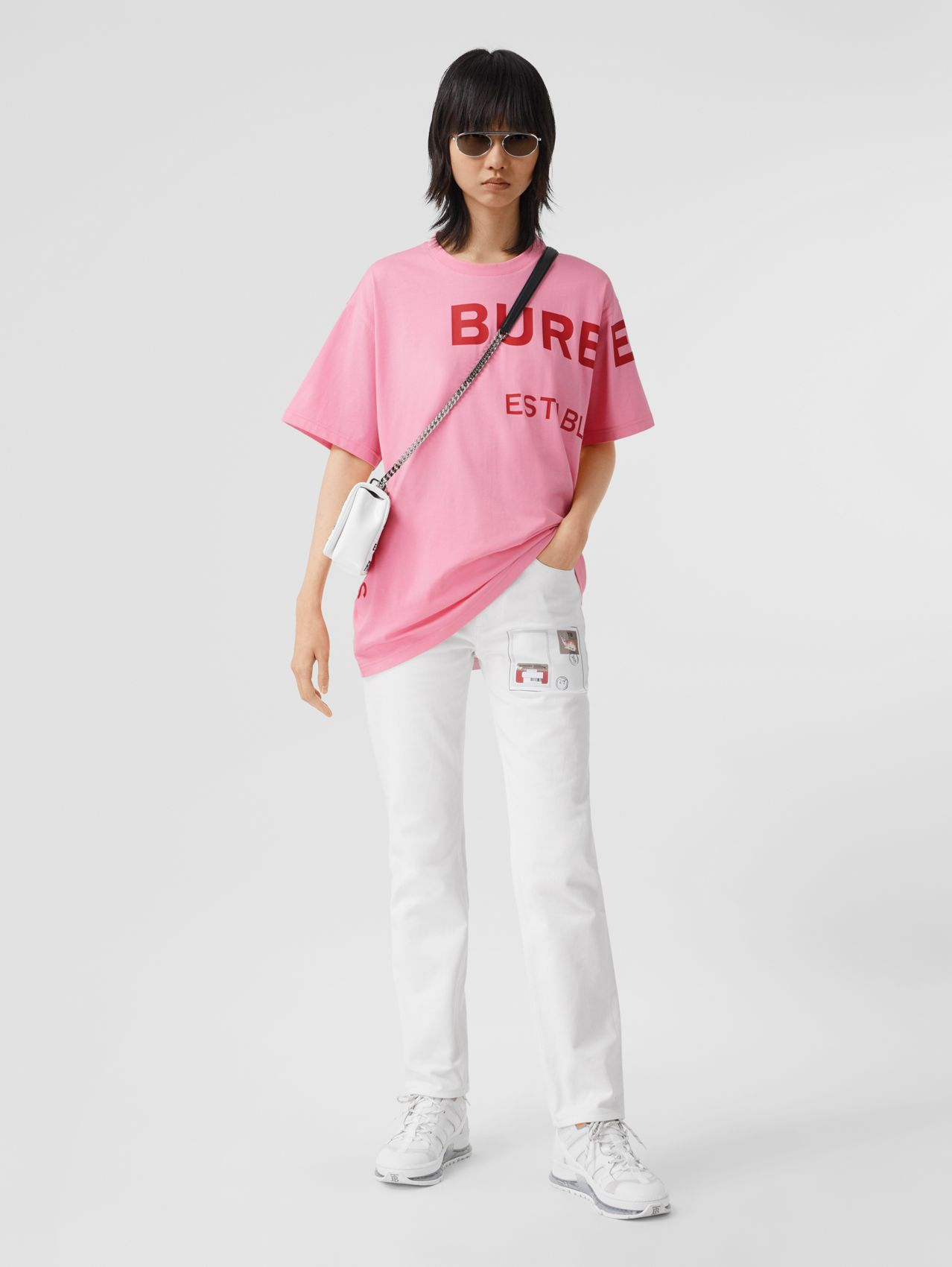 Horseferry Print Cotton Oversized T-shirt in Bubblegum Pink