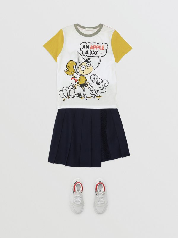 Cartoon Print Cotton T-shirt in White | Burberry Canada - cell image 2