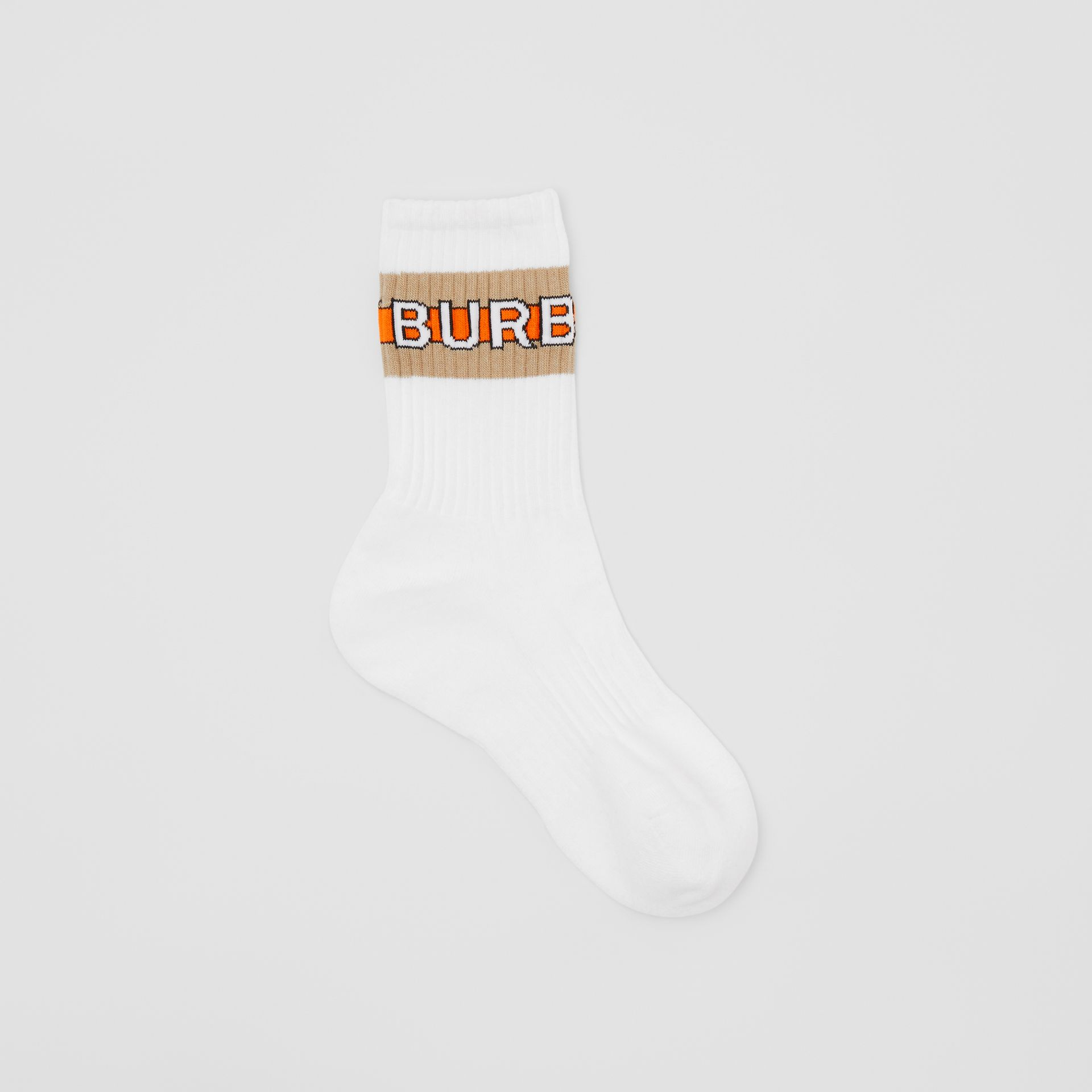 Logo Intarsia Cotton Blend Socks in White | Burberry - gallery image 0