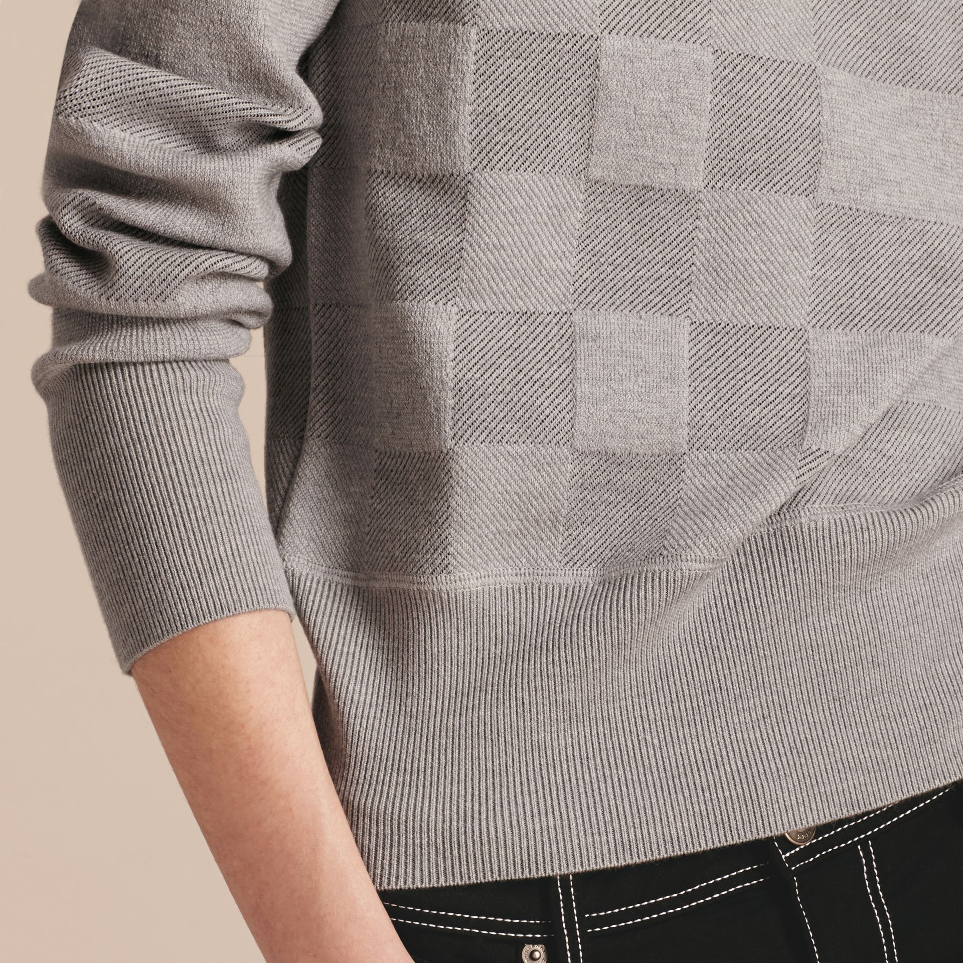 Check Knit Wool Blend Sweater in Mid Grey Melange - Women | Burberry United Kingdom - gallery image 5