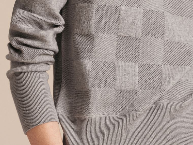 Check Knit Wool Blend Sweater in Mid Grey Melange - Women | Burberry United Kingdom - cell image 4