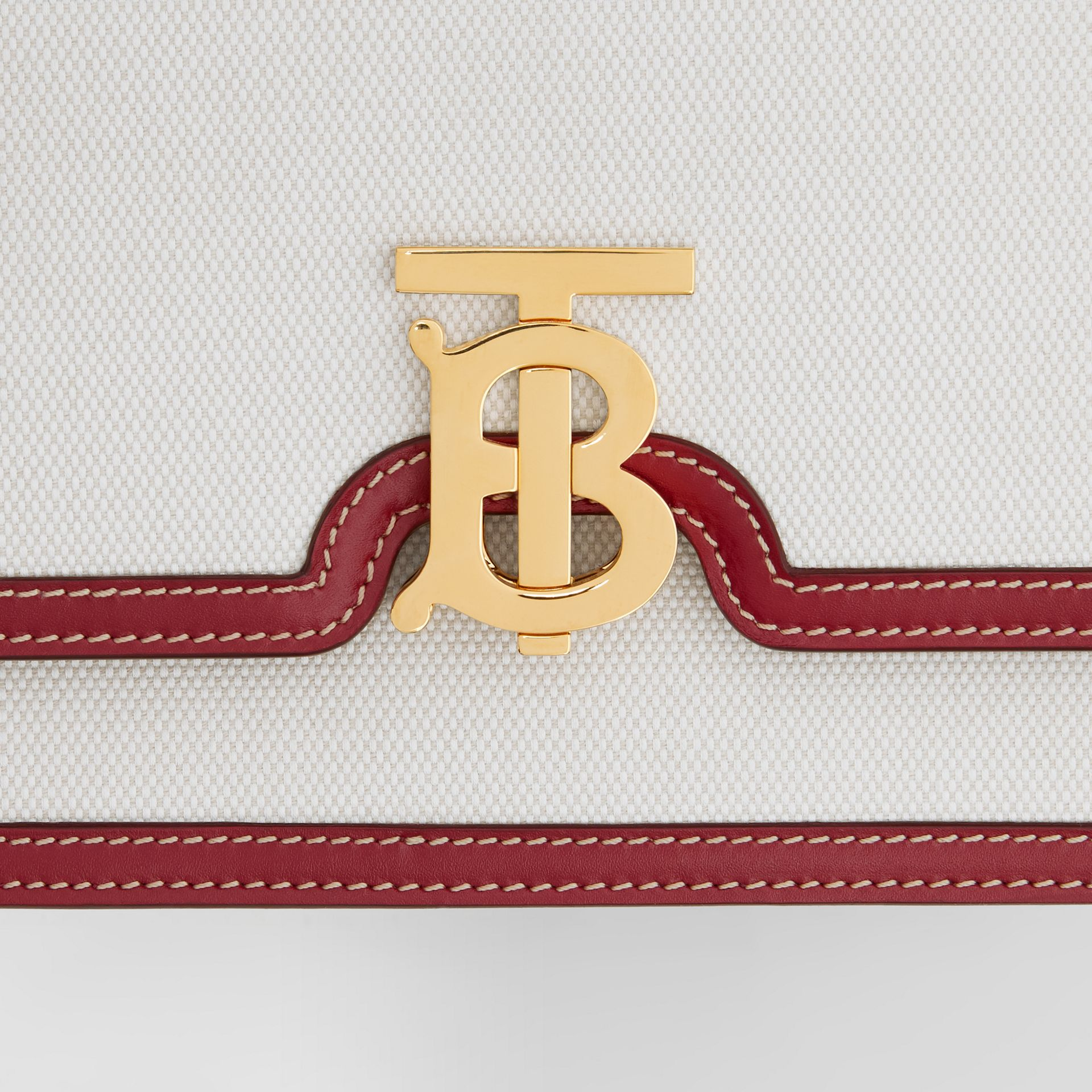 Small Two-tone Canvas and Leather TB Bag in Natural/dark Carmine - Women | Burberry Hong Kong S.A.R - gallery image 1