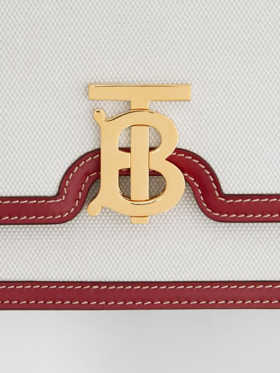 Small Two-tone Canvas and Leather TB Bag in Natural/dark Carmine - Women | Burberry Hong Kong S.A.R - cell image 1