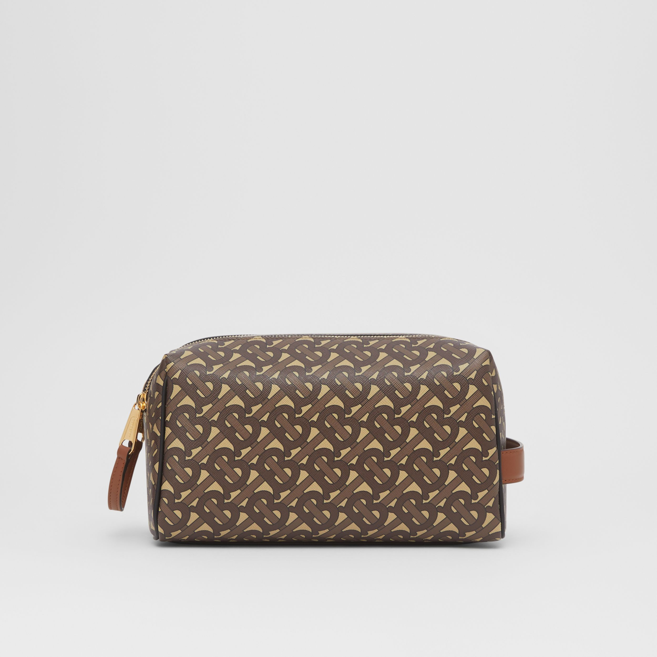 Monogram Print E-canvas Travel Pouch in Bridle Brown | Burberry - 1