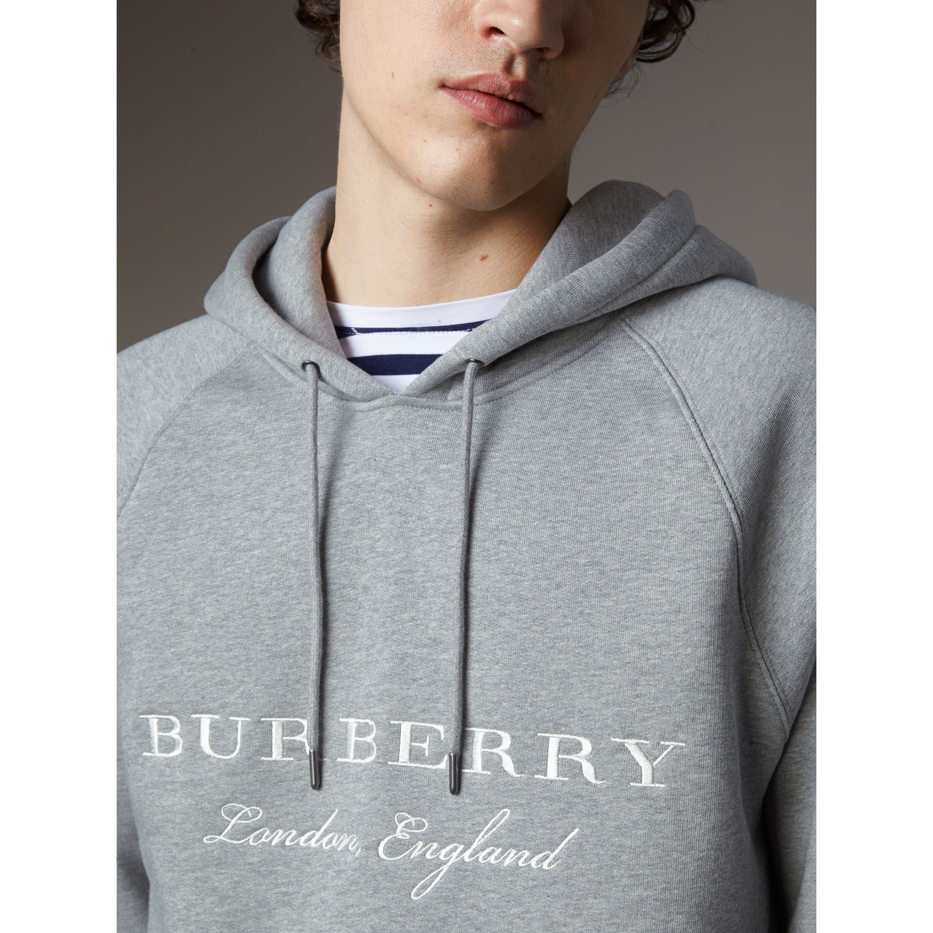 Embroidered Hooded Sweatshirt in Grey Melange - Men | Burberry United Kingdom - gallery image 3