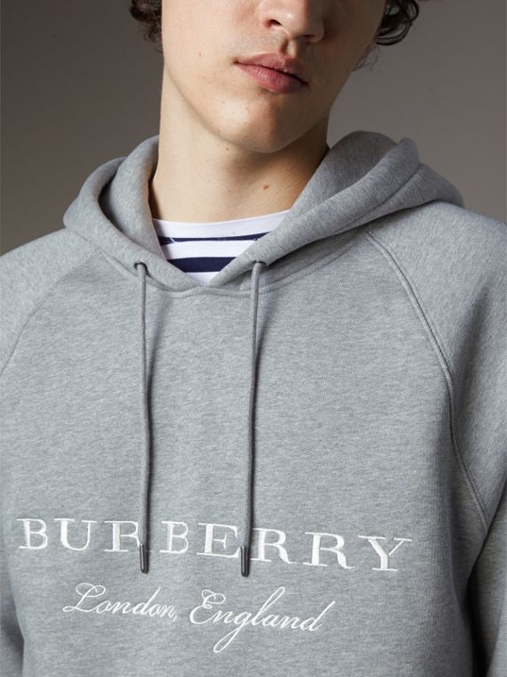 Embroidered Hooded Sweatshirt in Grey Melange - Men | Burberry Hong Kong - cell image 3