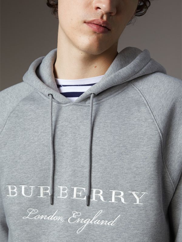 Embroidered Hooded Sweatshirt in Grey Melange - Men | Burberry United Kingdom - cell image 3